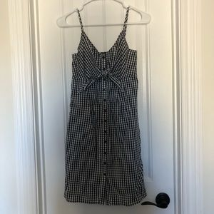 Soprano gingham tie front button up dress